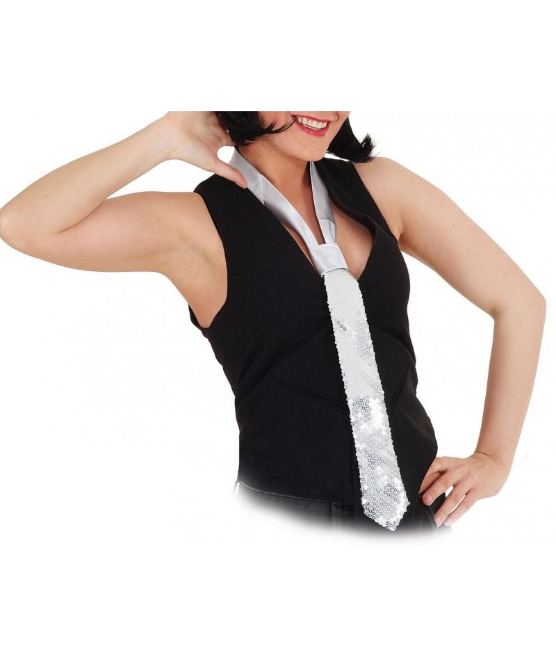 Cravatta paillettes argento