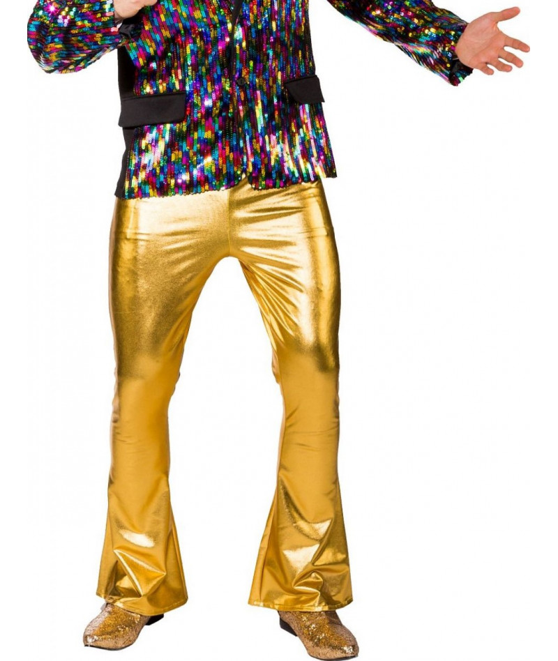 Pantaloni disco gold