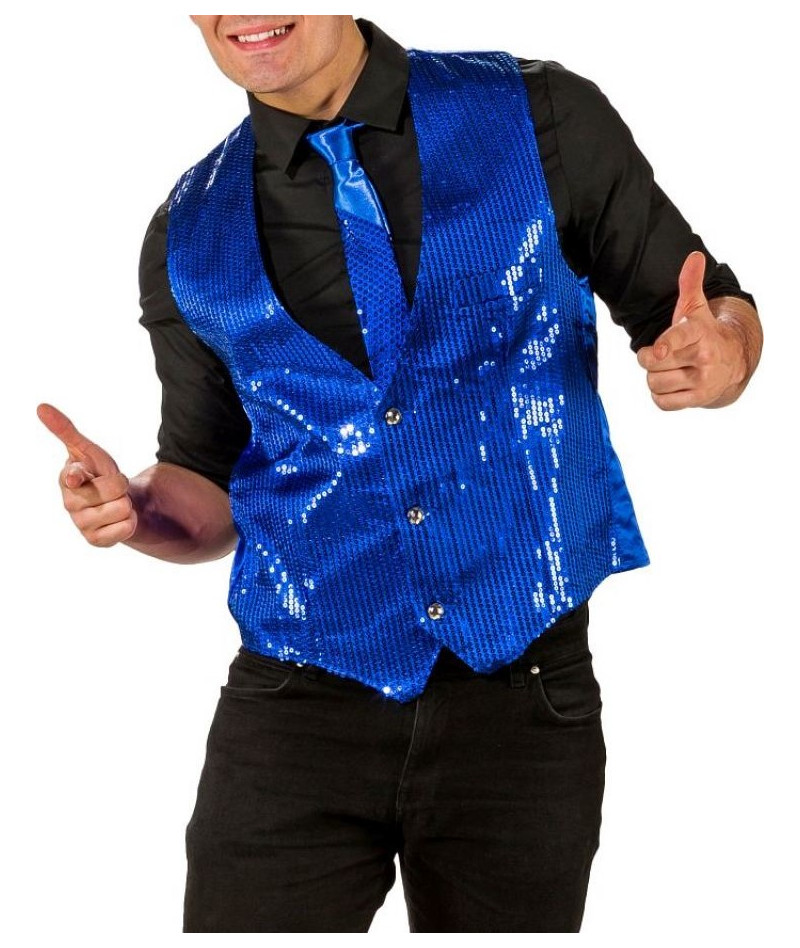 Gilet paillettes blu