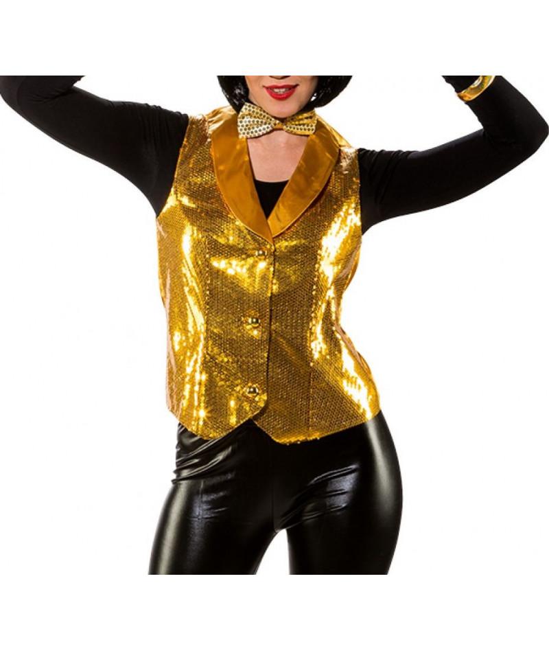 Gilet paillettes oro donna