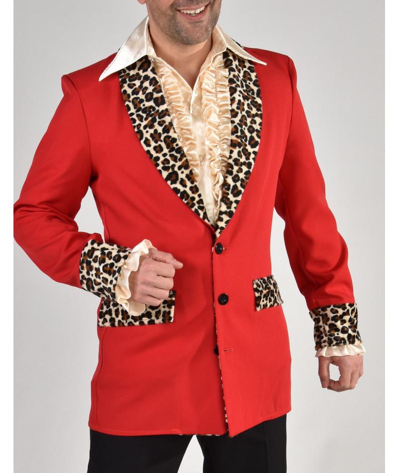 Giacca rossa leopardata uomo