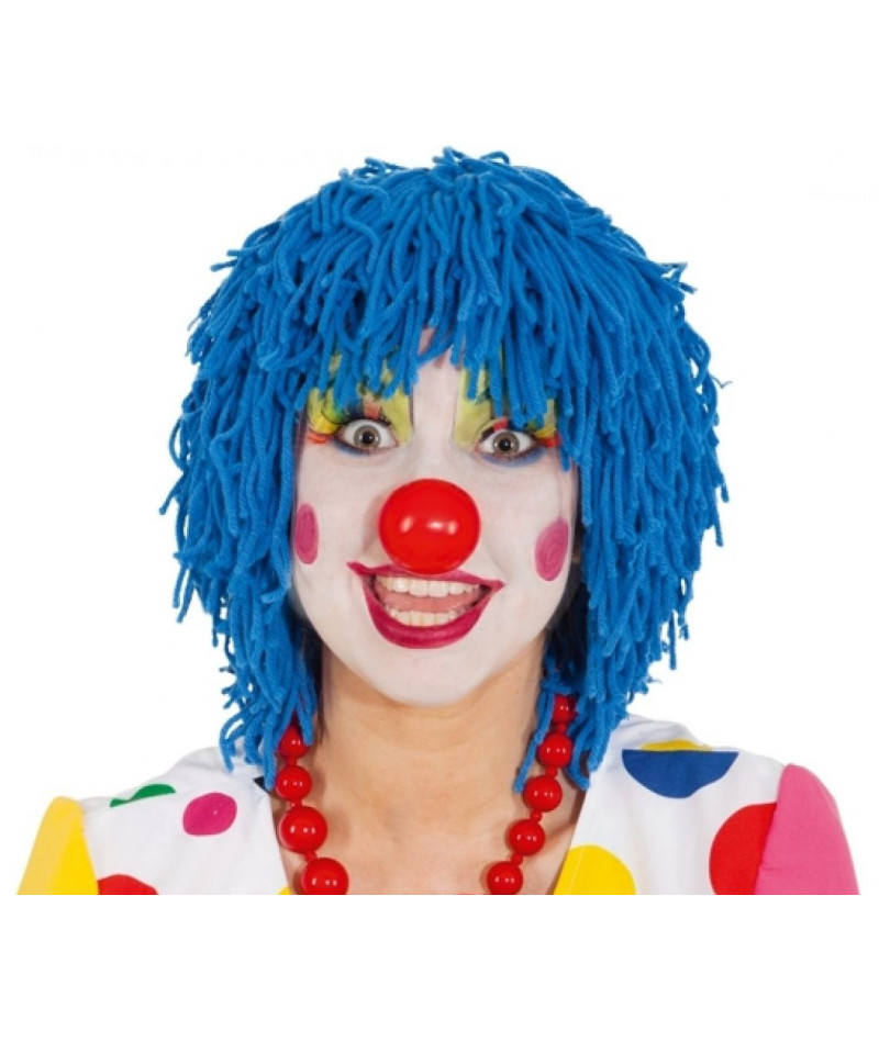Parrucca clown lana blu